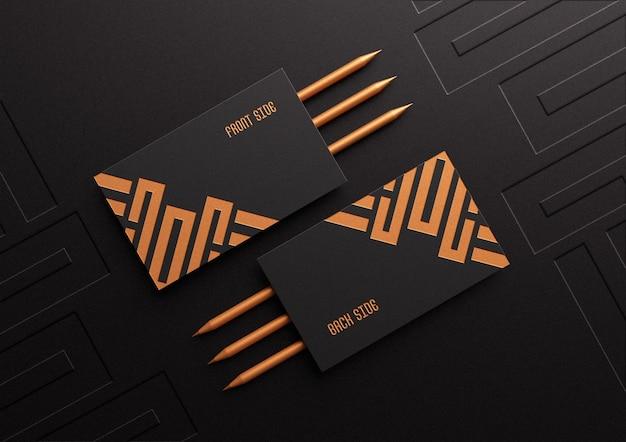Maquete de cartão de visita luxuosa e elegante com efeito de relevo