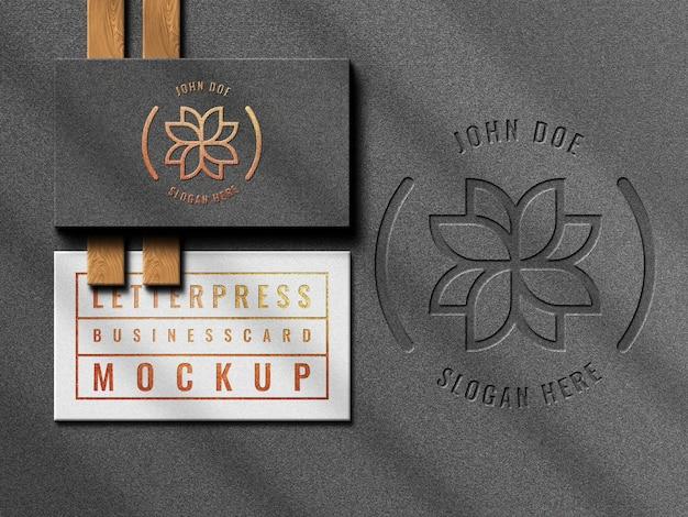 Maquete de cartão de visita moderno de luxo com vista superior