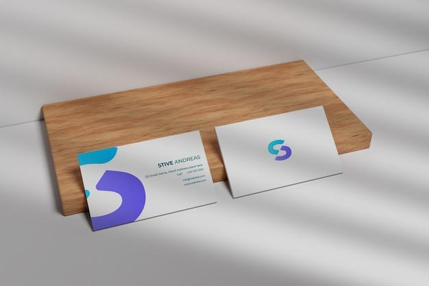 Maquete de cartão de visita moderno em madeira
