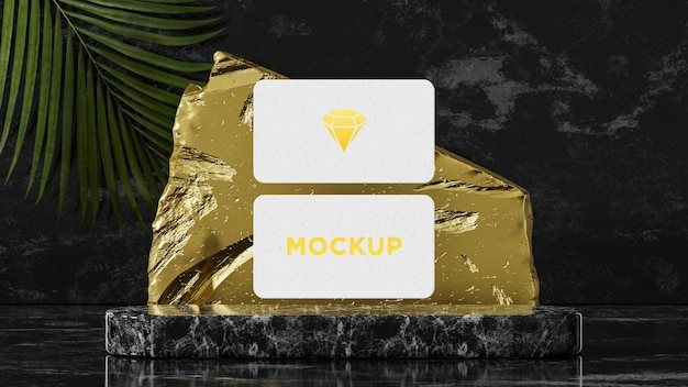 Maquete de cartão de visita moderno em um ladrilho de mármore em renderização 3d
