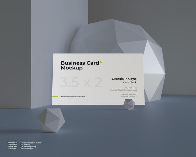Maquete de cartão de visita no chão em bloco e superfície de geometria de esfera