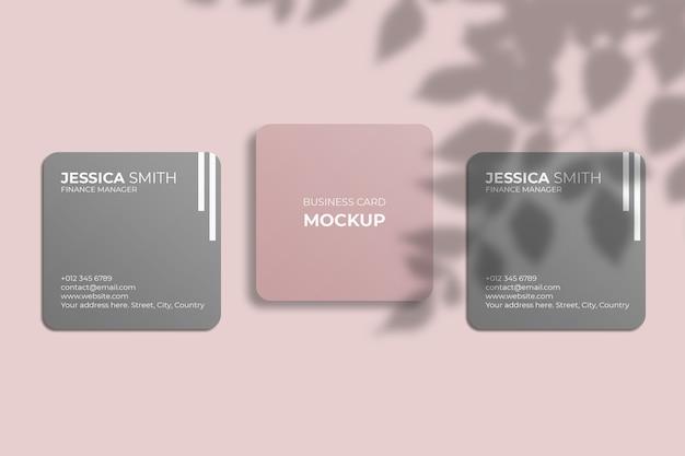 Maquete de cartão de visita quadrada com canto arredondado e sombra de folha