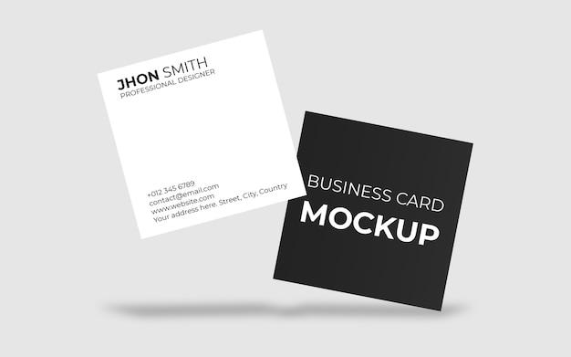 Maquete de cartão de visita quadrada flutuante