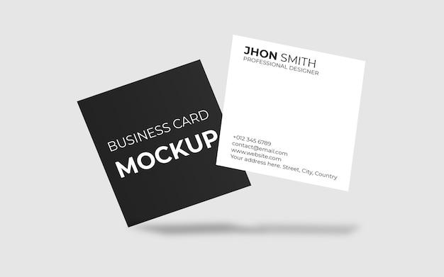 Maquete de cartão de visita quadrado flutuante mínimo
