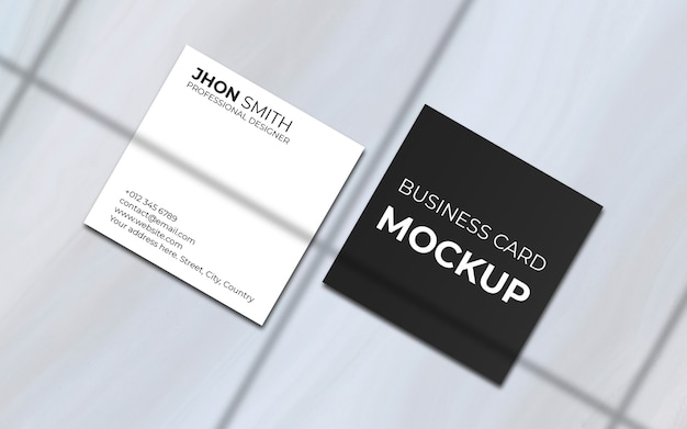 Maquete de cartão de visita quadrado mínimo com sombra