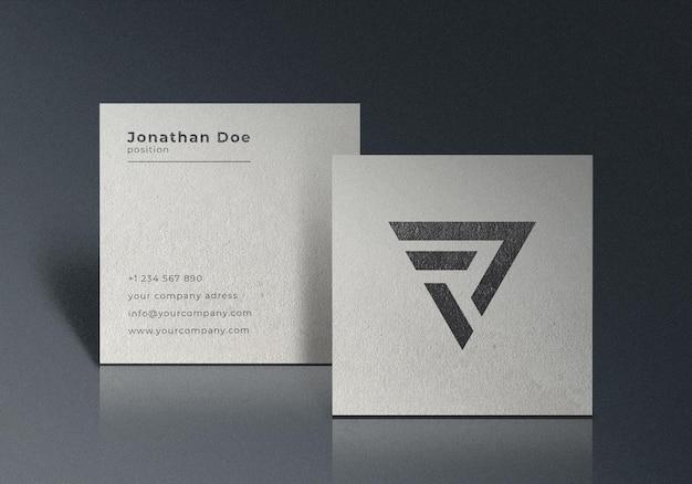 Maquete de cartão de visita quadrado realista branco