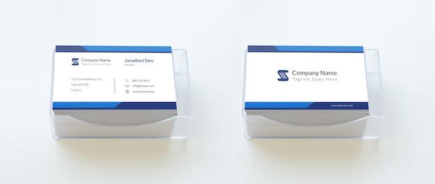 Maquete de cartão de visita sobre caixa de plástico