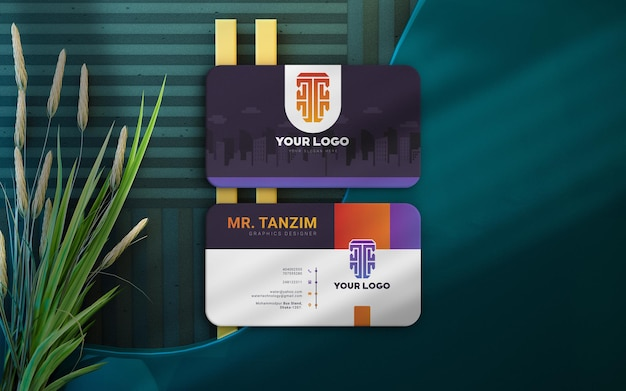Maquete de cartão de visita sombrio de luxo com fundo interior e belas plantas renderização em 3d