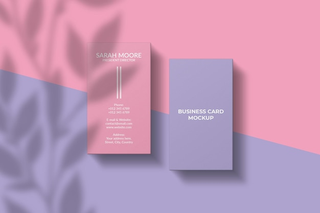 Maquete de cartão de visita vertical com sobreposição de sombra
