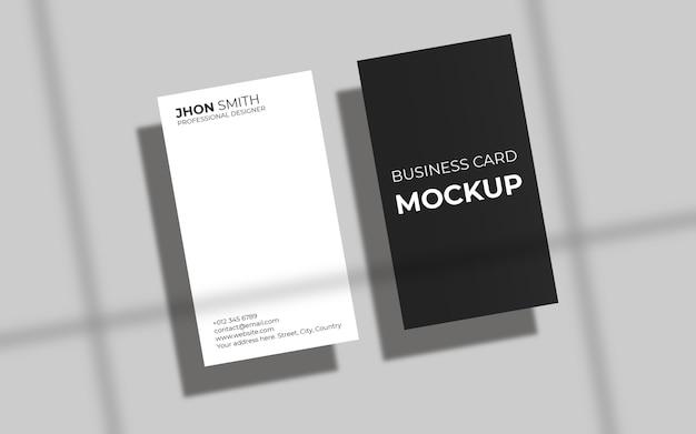 Maquete de cartão de visita vertical simples com sombra