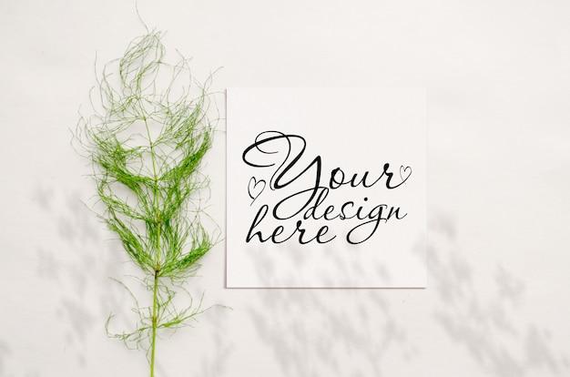 Maquete de cartão elegante com ervas