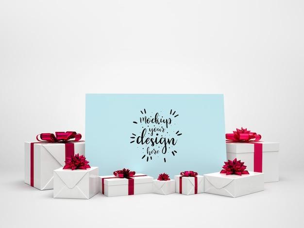Maquete de cartão entre presentes