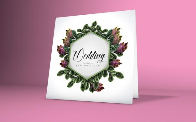 Maquete de cartão minimalista com ramo de cereja