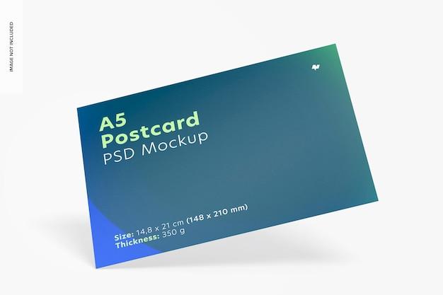 Maquete de cartão postal a5, caindo