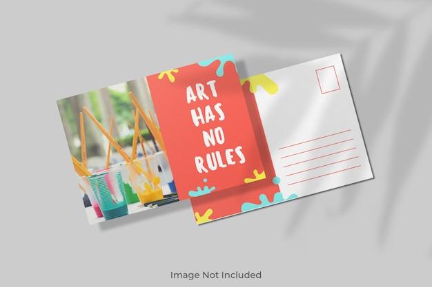 Maquete de cartão postal com sobreposição de sombra