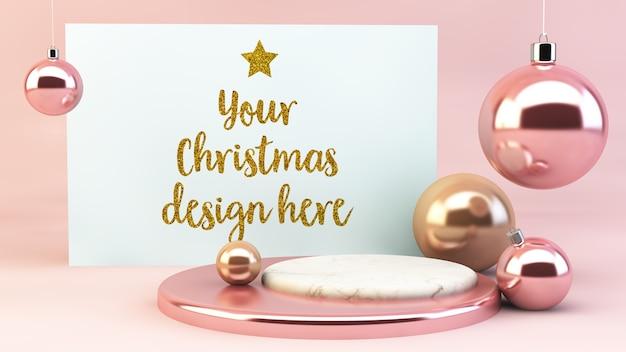 Maquete de cartão postal de natal com enfeites rosa