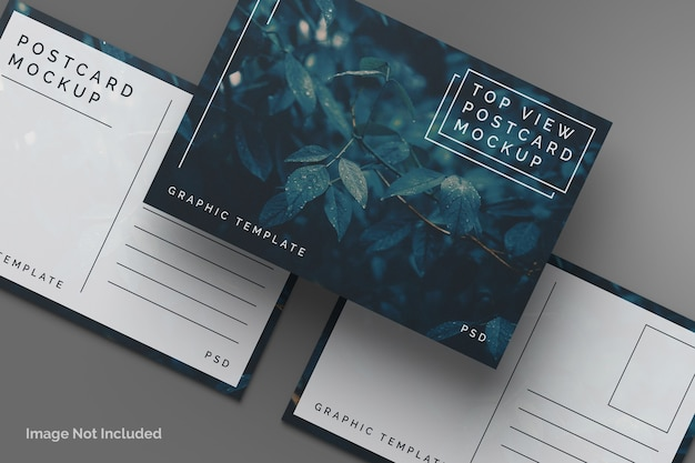 Maquete de cartão postal de vista superior