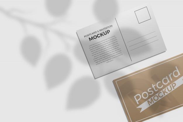 Maquete de cartão postal e convite