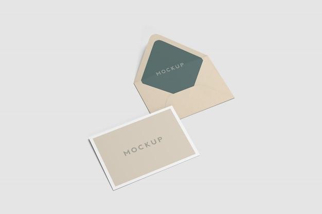 Maquete de cartão postal e envelope a6