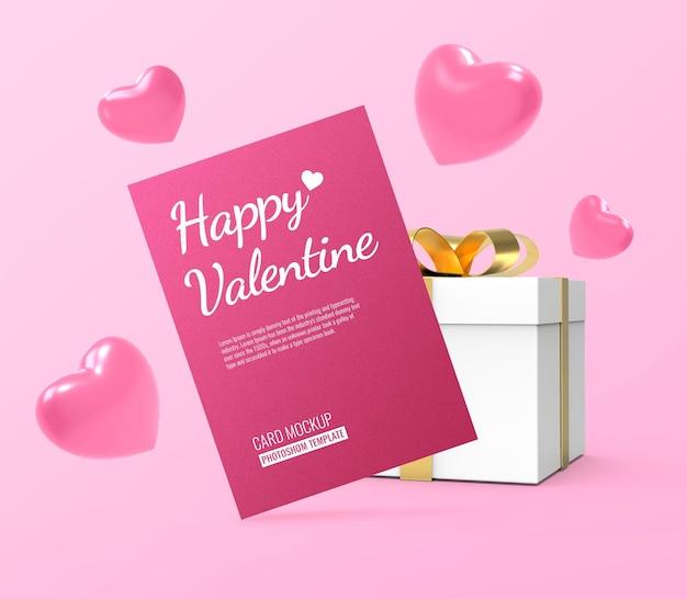 Maquete de cartão postal para o dia dos namorados com formas de coração