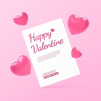 Maquete de cartão postal para o dia dos namorados com formas de coração Psd Premium