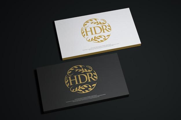 Maquete de cartão preto e branco com logotipo