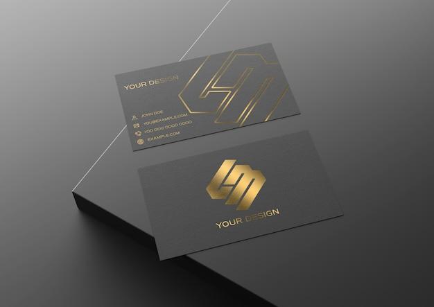 Maquete de cartão preto e dourado