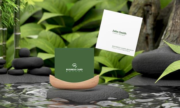 Maquete de cartão quadrada com conceito de natureza