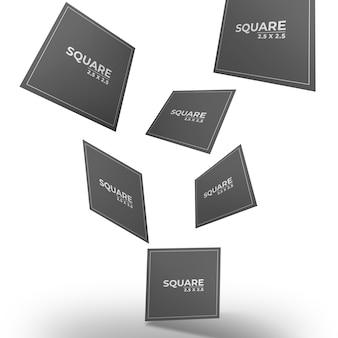 Maquete de cartas quadradas voadoras