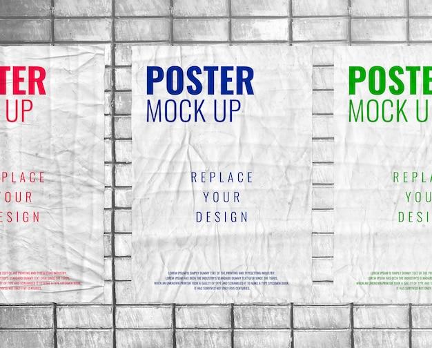 Maquete de cartaz colado impressão realista