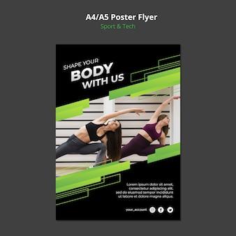 Maquete de cartaz de conceito de esporte e tecnologia