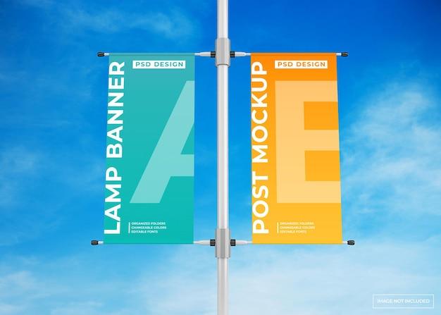 Maquete de cartaz de propaganda de banner de lâmpada pendurada