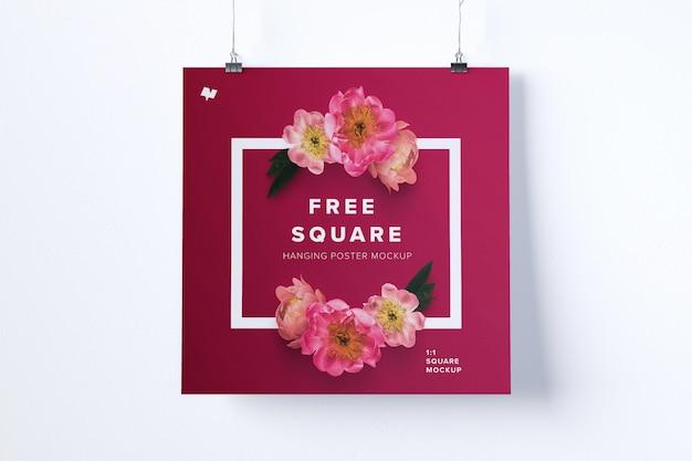 Maquete de cartaz de suspensão quadrada