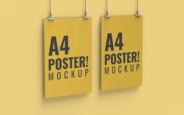 Maquete de cartaz vista esquerda tamanho a4