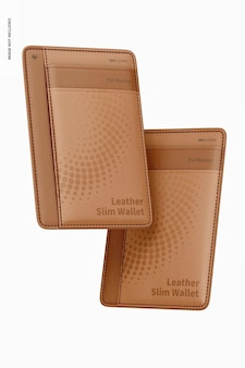 Maquete de carteira de couro fino