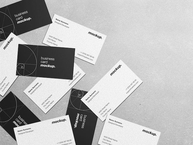 Maquete de cartões corporativos profissionais espalhados