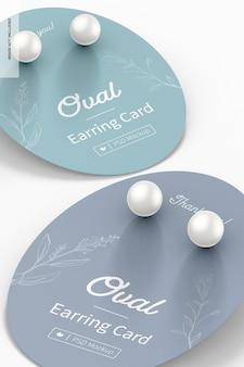 Maquete de cartões de brinco oval, close-up