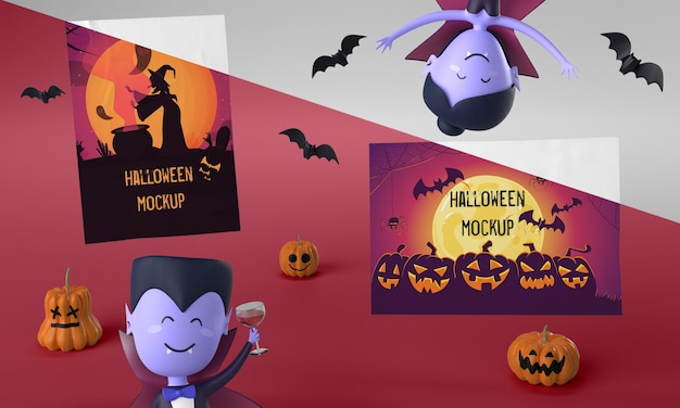 Maquete de cartões de halloween com vampiros assustadores