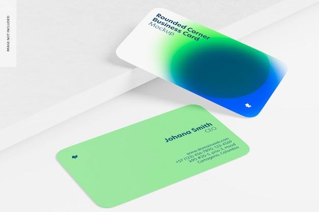 Maquete de cartões de visita com cantos arredondados, inclinados