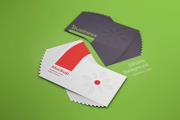 Maquete de cartões de visita com relevo para cima e para baixo