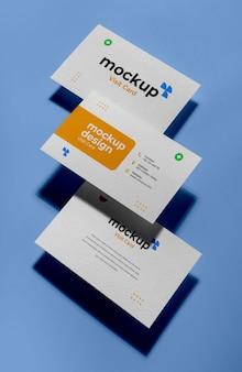 Maquete de cartões de visita de cima