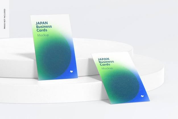 Maquete de cartões de visita de retrato do japão, inclinado