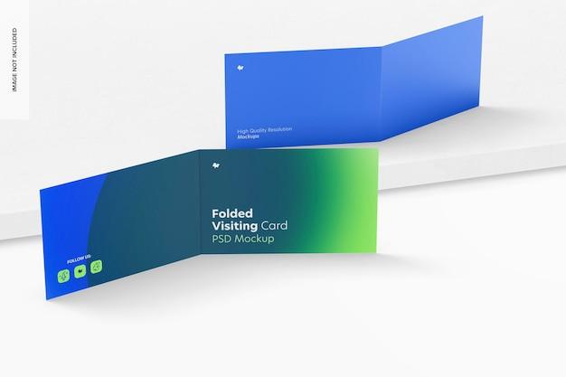 Maquete de cartões de visita dobrados