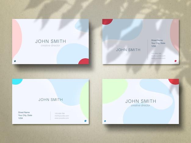 Maquete de cartões de visita em fundo de artesanato