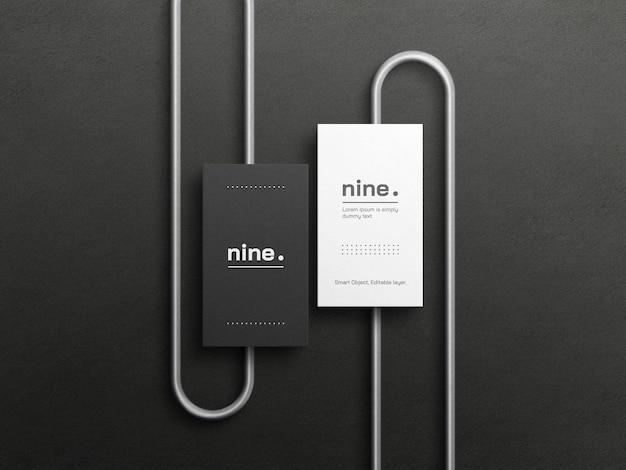 Maquete de cartões de visita em preto e branco