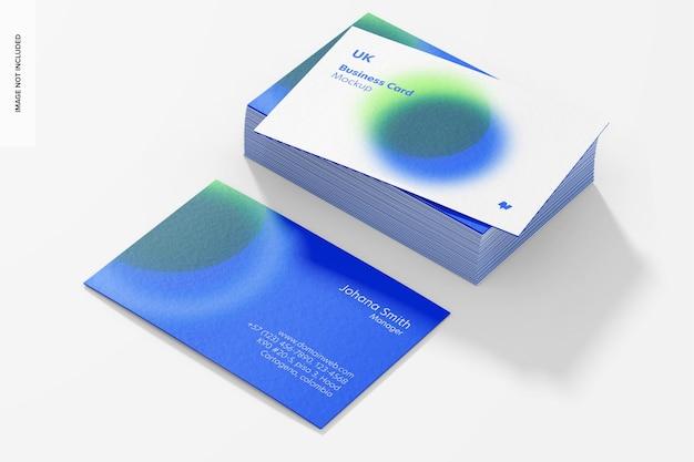 Maquete de cartões de visita horizontais, conjunto empilhado