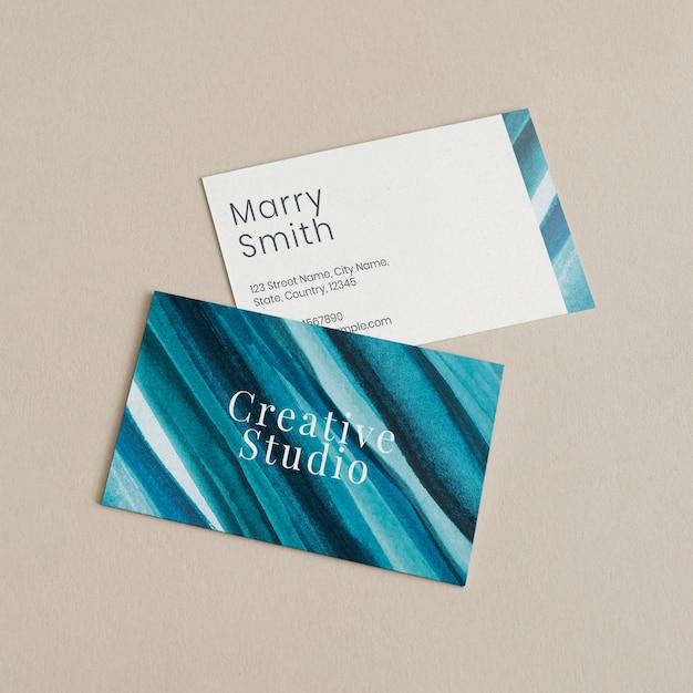 Maquete de cartões de visita psd estética ombre estilo aquarela