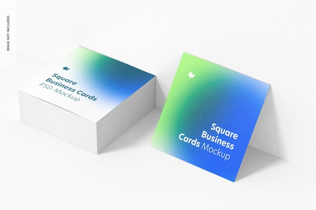 Maquete de cartões de visita quadrada, conjunto empilhado