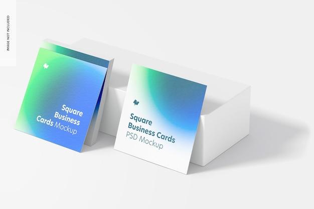 Maquete de cartões de visita quadrada, vista em perspectiva