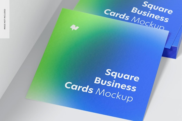 Maquete de cartões de visita quadrados, close-up